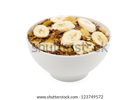 Close up image of banana cereal in white bowl against white background