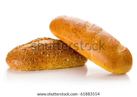 Close-up image of bread studio isolated on white background - stock photo