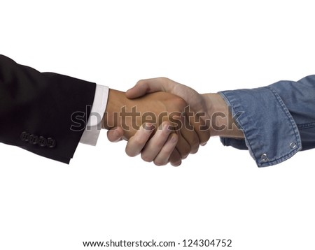 Close up image of business partnerships against white background