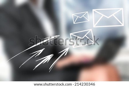Close up image of businesswoman hands typing on keyboard and sending e-mail - stock photo