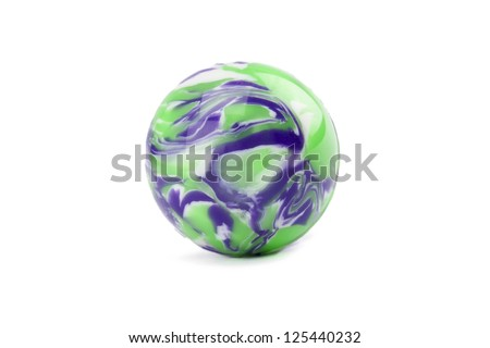 Close up image of colorful swirl marble against white background - stock photo