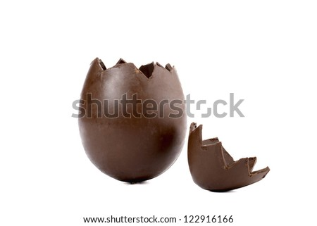 Close-up image of cracked egg shell chocolate on a white background - stock photo