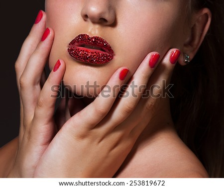 Close-up image of creative make-up - stock photo