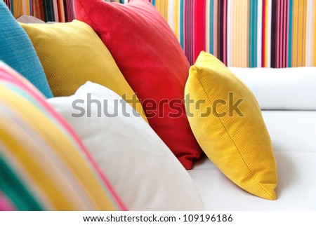 close up image of decorative colorful pillow - stock photo
