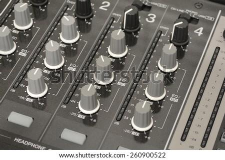 close up image of dj mixer set - stock photo