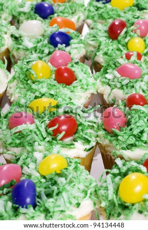 Close up image of Easter cupcakes for background