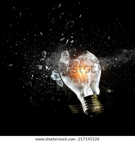 close up image of electric bulb explosion - stock photo