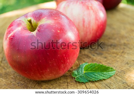 Close-up image of fresh juicy red apples  - stock photo