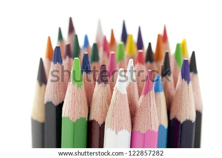 Close-up image of group of variety of color pencils isolated on white background. - stock photo