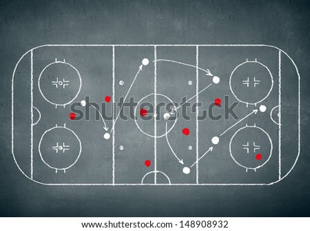 Close up image of hand drawn hockey tactic plan - stock photo