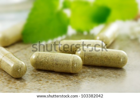 Close up image of herbal medicine - stock photo