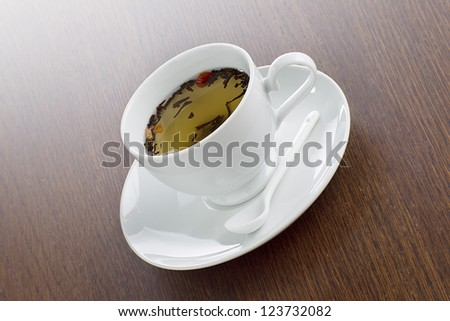 Close-up image of herbal tea in a cup