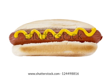 Close up image of Hot dog sandwich with mustard sauce against white background - stock photo
