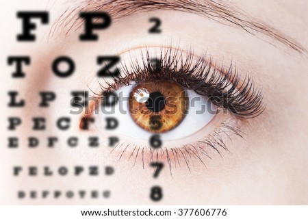 Close up image of human eye through eye chart - stock photo