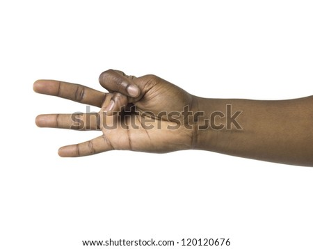Close up image of human hand gesturing hand sign - stock photo