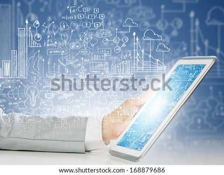 Close up image of human hand holding tablet pc