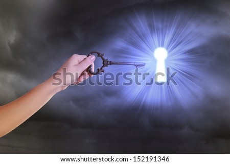 Close up image of human hand inserting key in key hole - stock photo