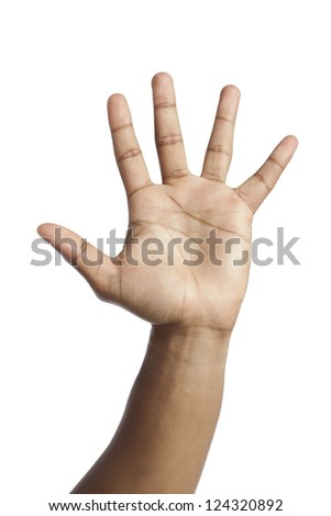 Close-up image of human hand with a high five gesture against the white background
