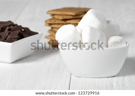 Close up image of ingredients for smore - stock photo
