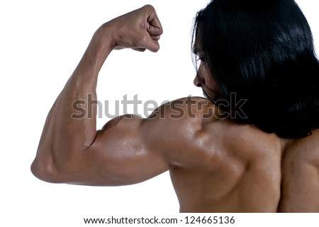 Close up image of man flexing his bicep against white background - stock photo
