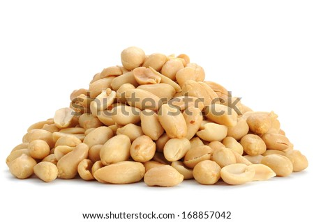 Close-up image of peanuts studio isolated on white background