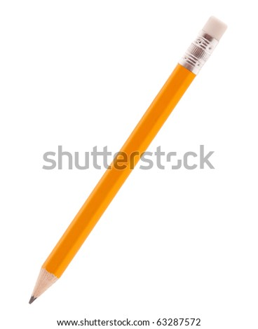 Close-up image of pencil isolated on white background - stock photo