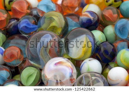 Close up image of pile of assorted marbles - stock photo