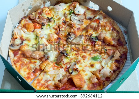 Close up image of pizza