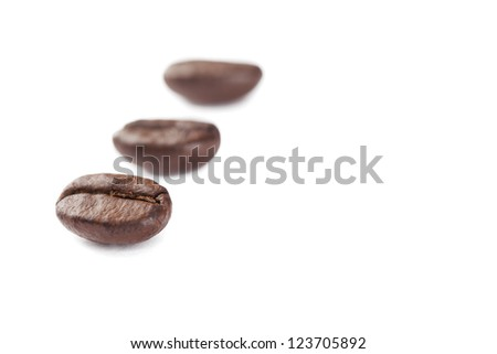 Close-up image of roasted coffee beans with blurred beans on the background