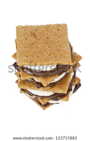 Close-up image of smore sandwich isolated on white. - stock photo