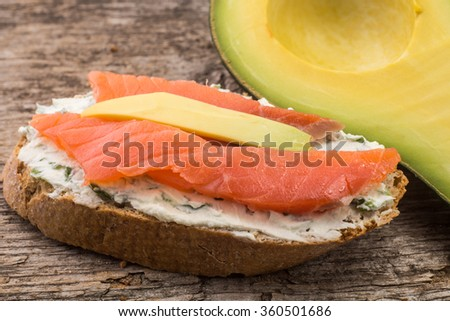 Close up image of some refreshment with salmon and avocado on bread slice