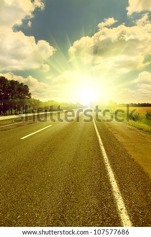 Close up image of speedway in sunset time - stock photo