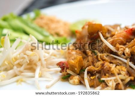 Close up image of Thai food Pad thai , Stir fry noodles with shrimp - stock photo