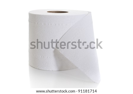 Close-up image of toilet paper studio isolated on white background - stock photo