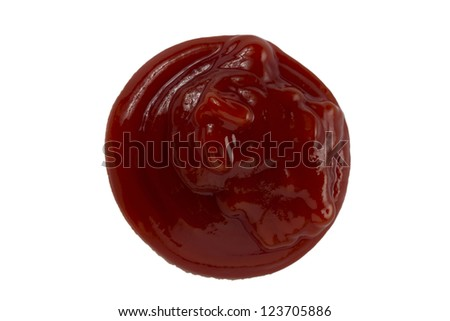 Close up image of tomato ketchup blob against white background