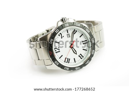 Close up image of watch on white background