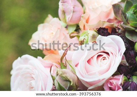 Close up image of wedding bouquet outdoor - stock photo