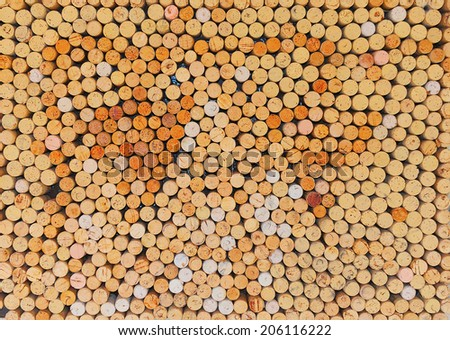 Close-up image of wine bottle old corks - stock photo