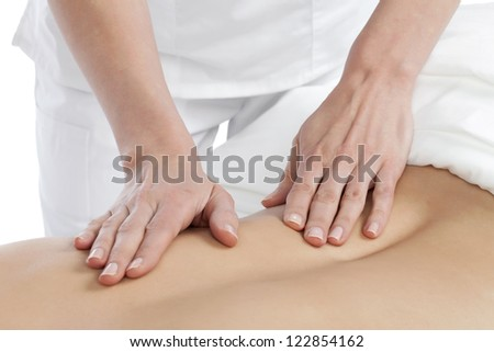 Close up image of woman back receiving a massage