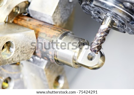 Close up industrial metal machining cutting process ? blank detail milling - stock photo