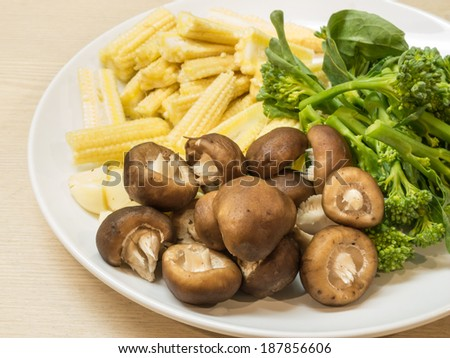 Close up ,Ingredient  preparation vegetable for cooking in white plate. - stock photo