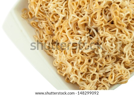 Close up instant noodles in bowl