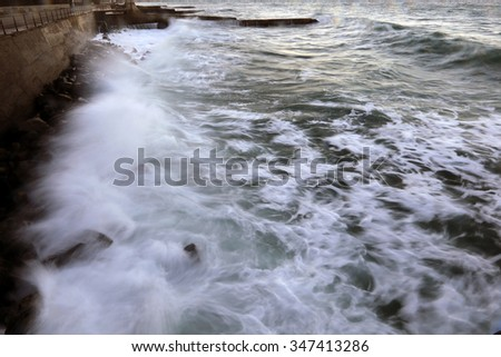 close-up isolated texture storm surf waves near the shore