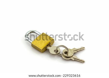 Close up key and lock on white background.