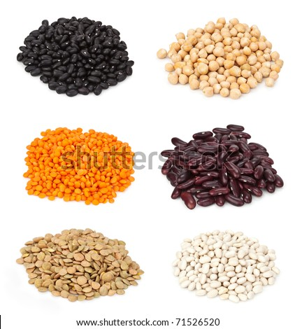 Close up kinds of beans (small lentils, chickpeas, white, black and red beans, soy beans, lentils) - stock photo