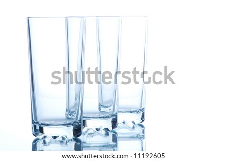 Close up. Kitchen glass. Isolated on white - stock photo