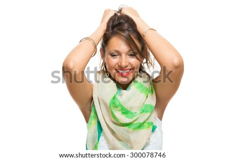 Close up Laughing Pretty Woman with Scarf Around her Neck, Holding Back her Hair with Mouth Wide Open While Looking at the Camera. Isolated on White. - stock photo