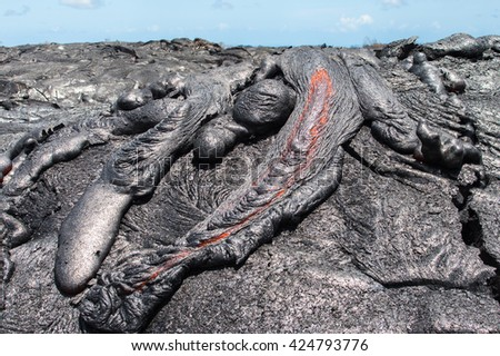 Close up lava flow in lava field Hawaii volcanoes National Park - stock photo