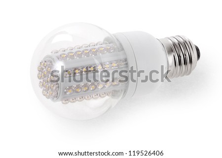 Close up LED Bulb isolated on white background - stock photo