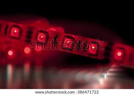 close up led strip lights, red color - stock photo